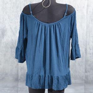 cold shoulder dark blue lace summer cato top sz 22